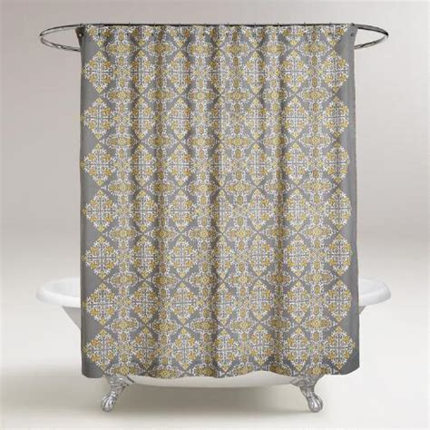 gray and yellow navya medallion shower curtain world market