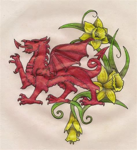 welsh dragon daffodils tribal tat inspiration