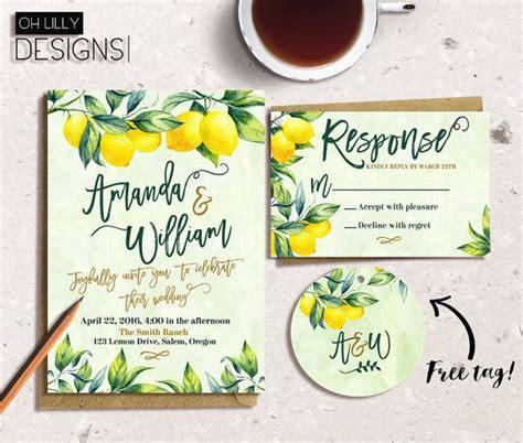lemon themed wedding invitations botanical wedding invitation lemon wedding invitation