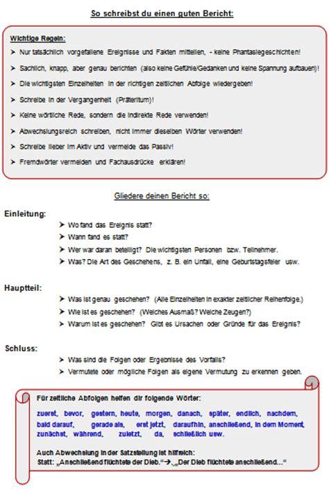 Unfallbericht Schreiben Muster Schule Berichte Schreiben Aufsatz
