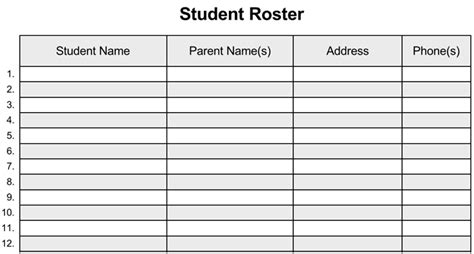 class contact list template class list template for work doc excel list templates
