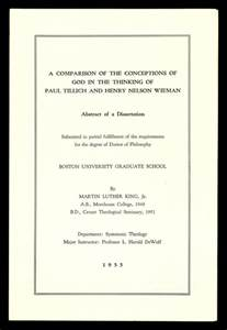 Doctoral Dissertation by Mlk S Doctoral Dissertation Abstract A Comparison Of The Conceptions Of God In The Thinking Of