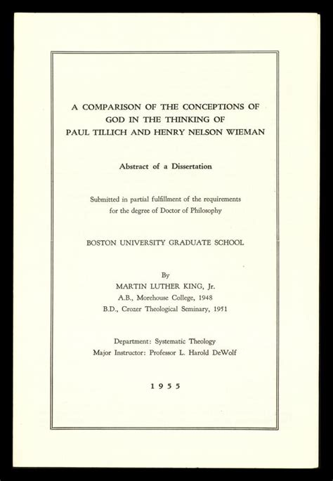mlk dissertation mlk s doctoral dissertation abstract a comparison of the