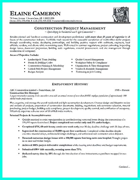 construction project management resume exles cool construction project manager resume to get applied