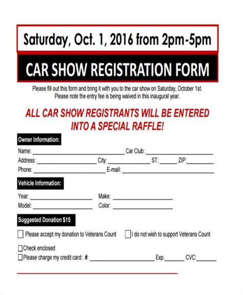 talent show registration form template show entry form template 28 images car show