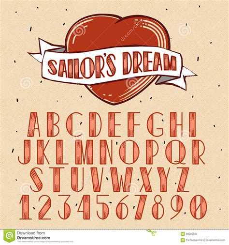 old school tattoo font school style font stock vector illustration