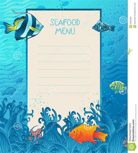seafood menu design background template stock vector