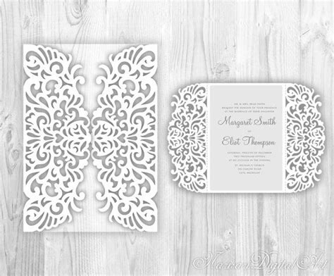 free wedding gate fold card template silhouette intricate wedding invitation laser cut pattern card