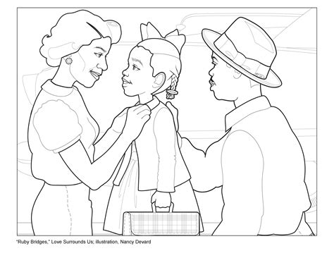 coloring page for ruby bridges activity 1 story ruby bridges surrounded by love love