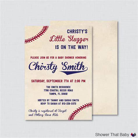 baseball baby shower invitation templates baseball baby shower invitation printable or printed vintage