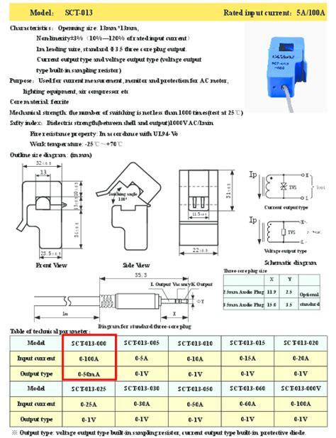 Ac Current Sensor Sct 013 000 100a Non Invasive Split Sensor Arus sct 000 013 ac current sensor 100a 50ma ebay