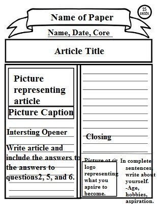 revolutionary war newspaper template newspaper template classroom social studies social