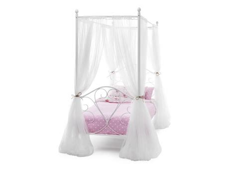 Serene Isabelle 3ft Single White Four Poster Metal Bed Four Poster Single Bed Frame