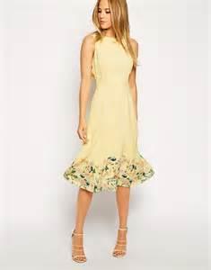 asos midi dress in botanical border print in yellow lyst