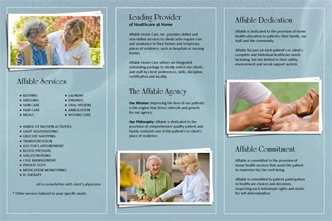 home care brochure template affable home care brochure back creative