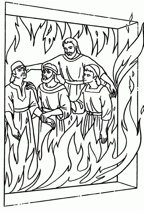 shadrach meshach abednego in the fire free colouring pages