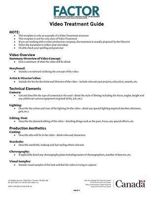 music video treatment template applicant resources factor canada