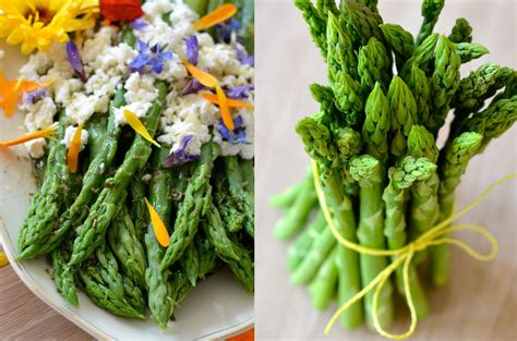 green asparagus goat cheese and flowers with an orange green asparagus goat cheese and flowers with an orange