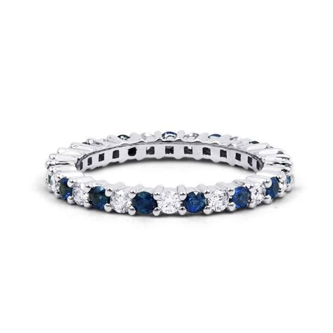 Blue Sapphire 9 95 Ct white gold blue sapphire eternity ring