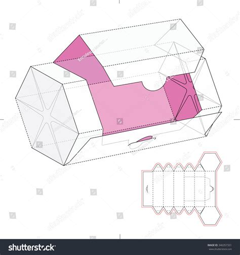 hexgonal card template hexagonal dispenser box die cut template stock vector