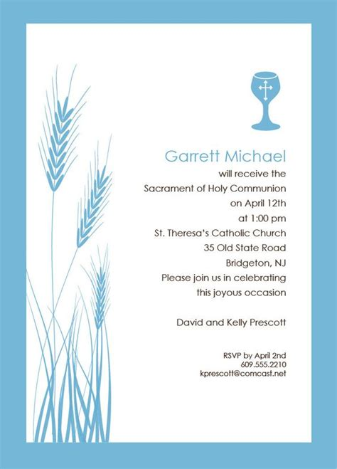 wheat and chalice religious invitation template blue
