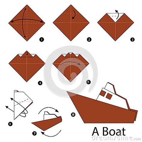 cartoon paper boat step by step instructions how to make origami boat stock