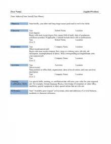 Basic Resume Exles by Basic Resume Template Free Microsoft Word Templates