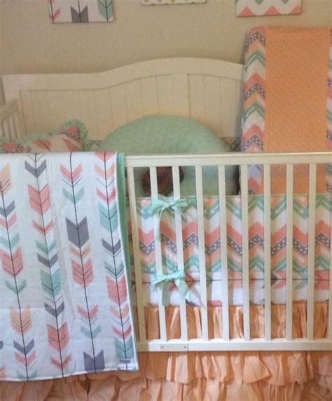 mint and coral crib bedding 20 best coral mint peach and gray nursery images on