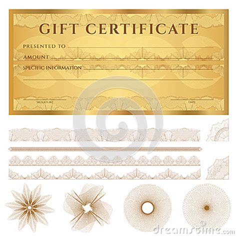 gold gift card template gold gift certificate voucher template pattern stock
