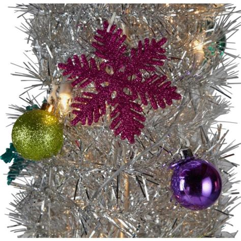 silver tinsel pop up christmas tree 6ft christmas