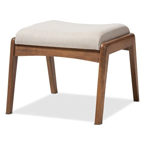 Upholstered Footstools Ottomans Baxton Studio Mid Century Modern Walnut Wood Finishing And Light Beige Fabric Upholstered