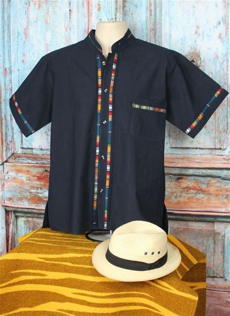 american themed clothing uk latin american men s guayabera shirt dark blue mandarin