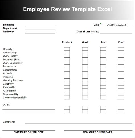 review template employee performance evaluation form excel anuvrat info
