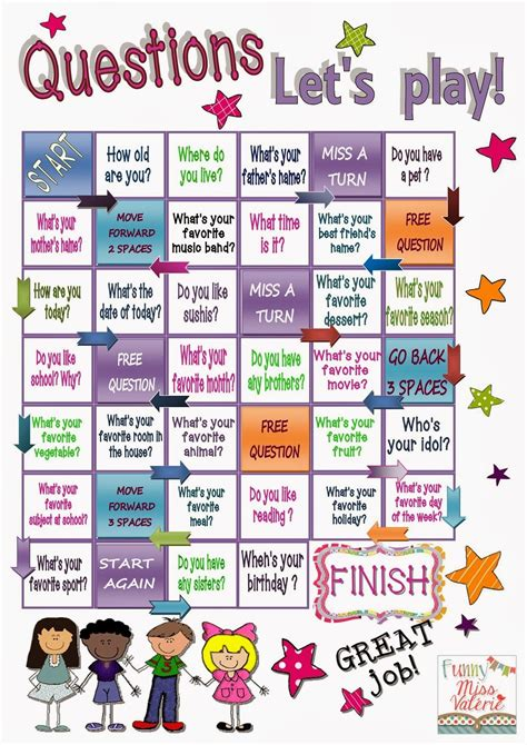 printable board games for esl funny miss val 233 rie question words esl pinterest