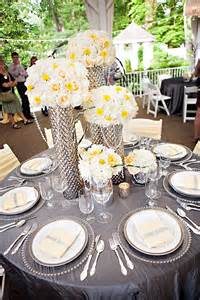 yellow and gray centerpieces gray and yellow are great for and summer weddings