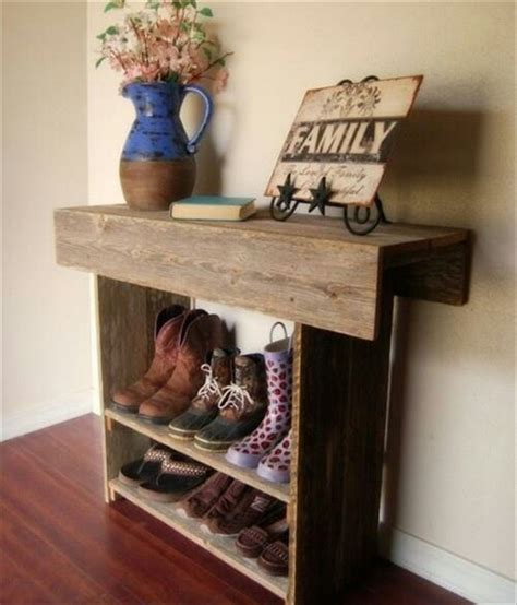 Shoe Rack Entry Table Pallet Wood Redone To Create A Shoe Rack Pallet