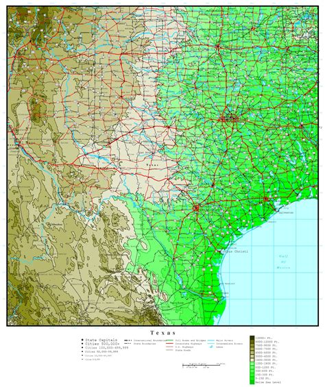 map of texas showing texas elevation map