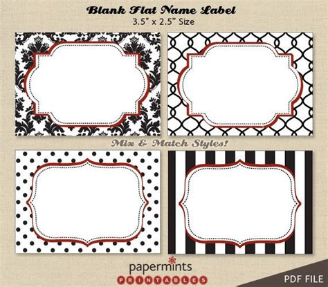 Printable Blank Name Labels For Dessert Table Holiday Tag Dessert Labels Template