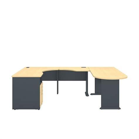 Corner Desk Beech Bush Bbf Series A Single Pedestal Corner Desk U Station In Beech Sra037be