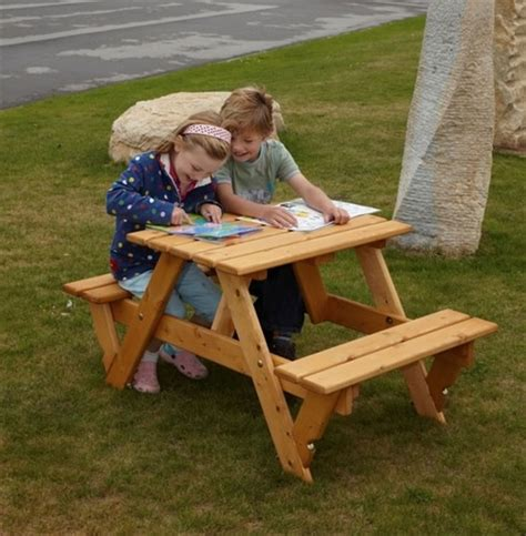kids wooden picnic bench childrens garden picnic bench the garden factory