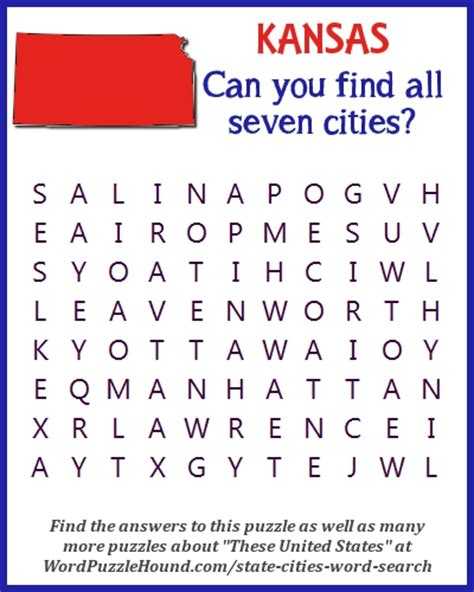 Kansas Search State Of Kansas Cities Word Search Word Puzzle Hound
