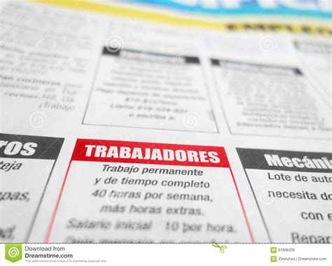 employment section of newspaper newspaper employment section stock photo image 61906339