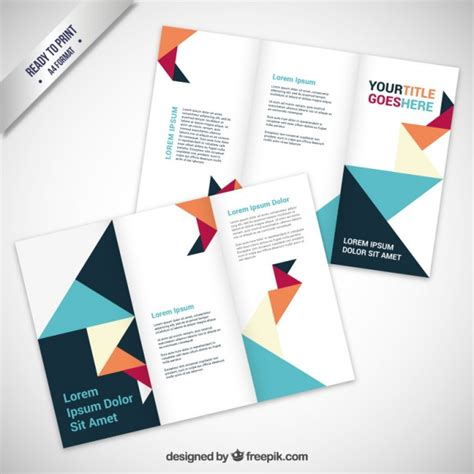 How To Make A Paper Brochure - brochure in origami style vector free