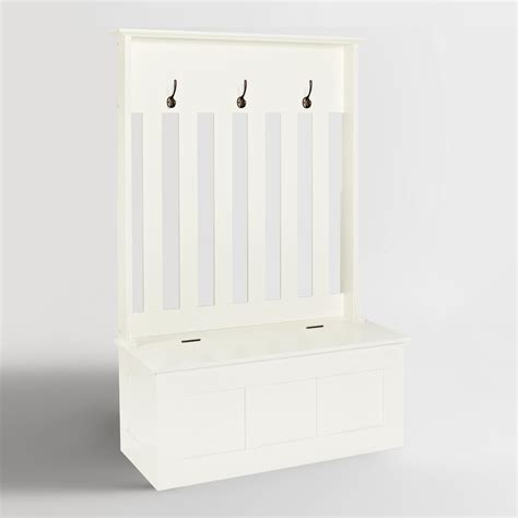 entryway storage bench white wood wentworth entryway storage bench world market