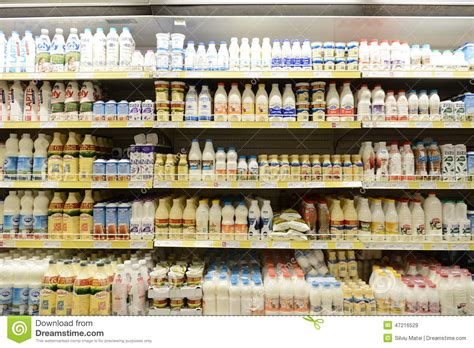 why are eggs in the dairy section milk and dairy products on supermarket store editorial