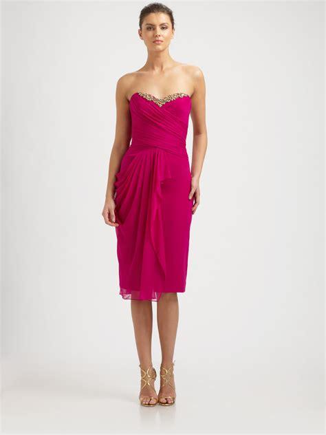 chiffon draped dress notte by marchesa silk chiffon strapless draped dress in