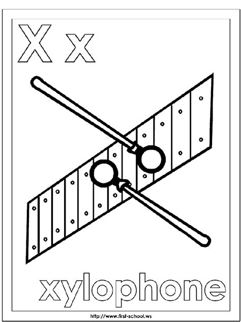 Letter X Coloring Pages Preschool by Xylophone Coloring Page Alphabet Letter X Preschool