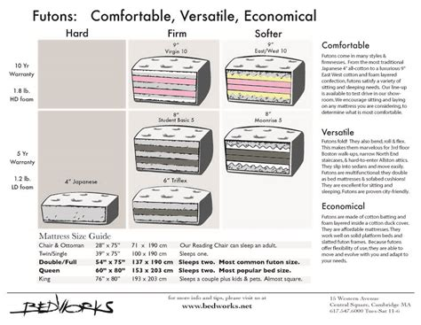 dimensions of futon pin mattress size chart on pinterest