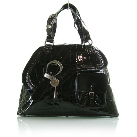 Gaucho Croc Sted Patent Bag by Christian Patent Croc Gaucho Sports Tote Black
