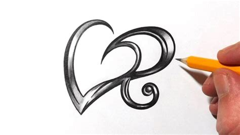 design effect in r drawing initial r and heart design with metal effect